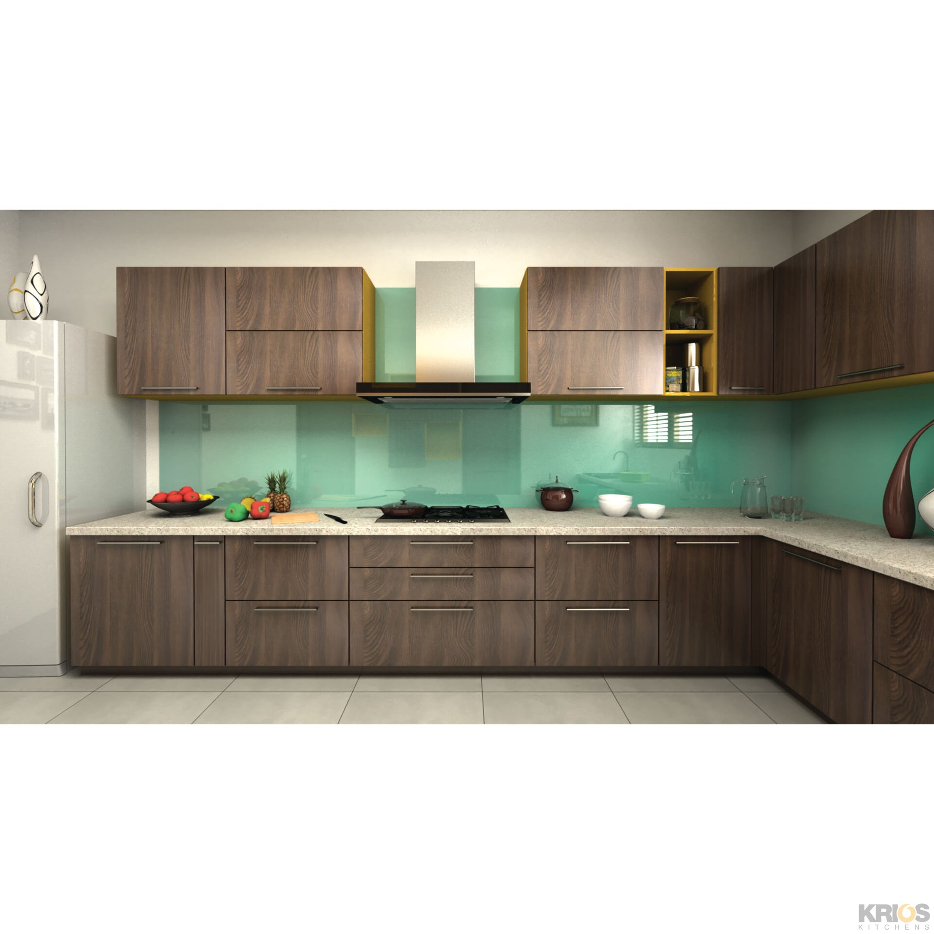 Straight L Shaped Kitchen Layout With Island For Hangover: Walcott Walnut