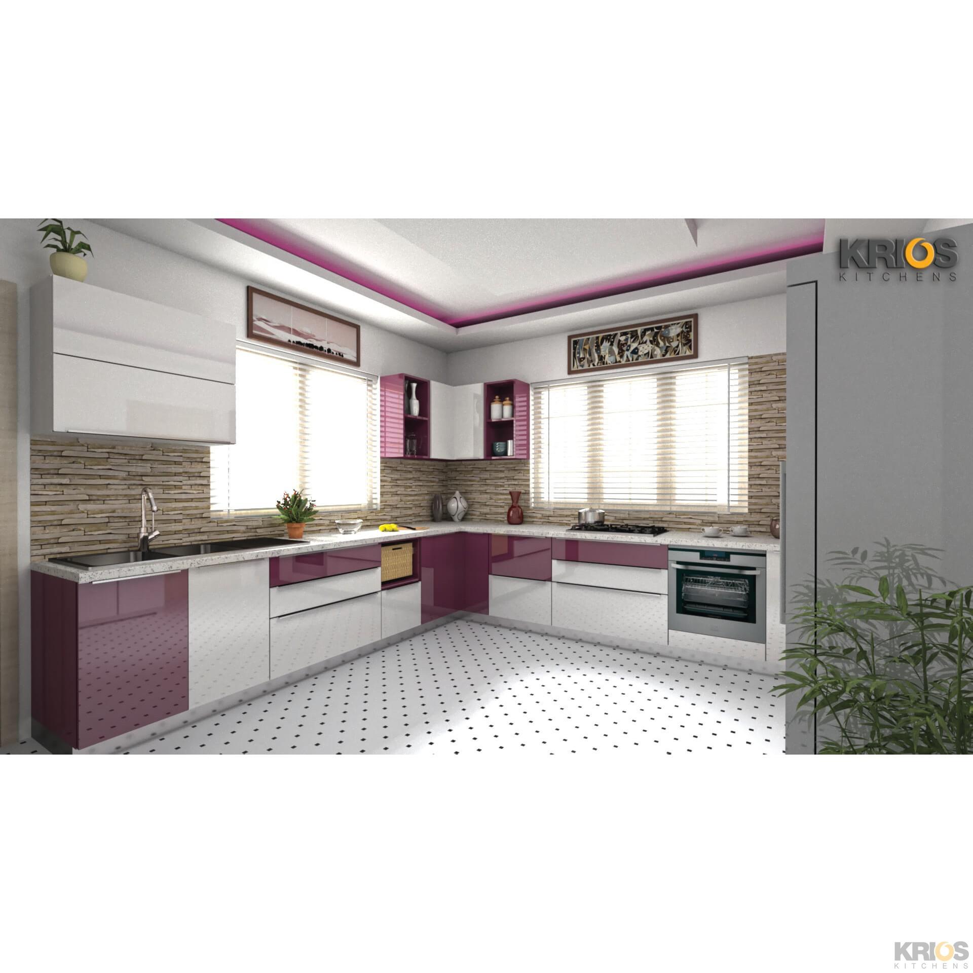 L Shaped Modular Kitchen Designs Catalogue: Patrizia Purple