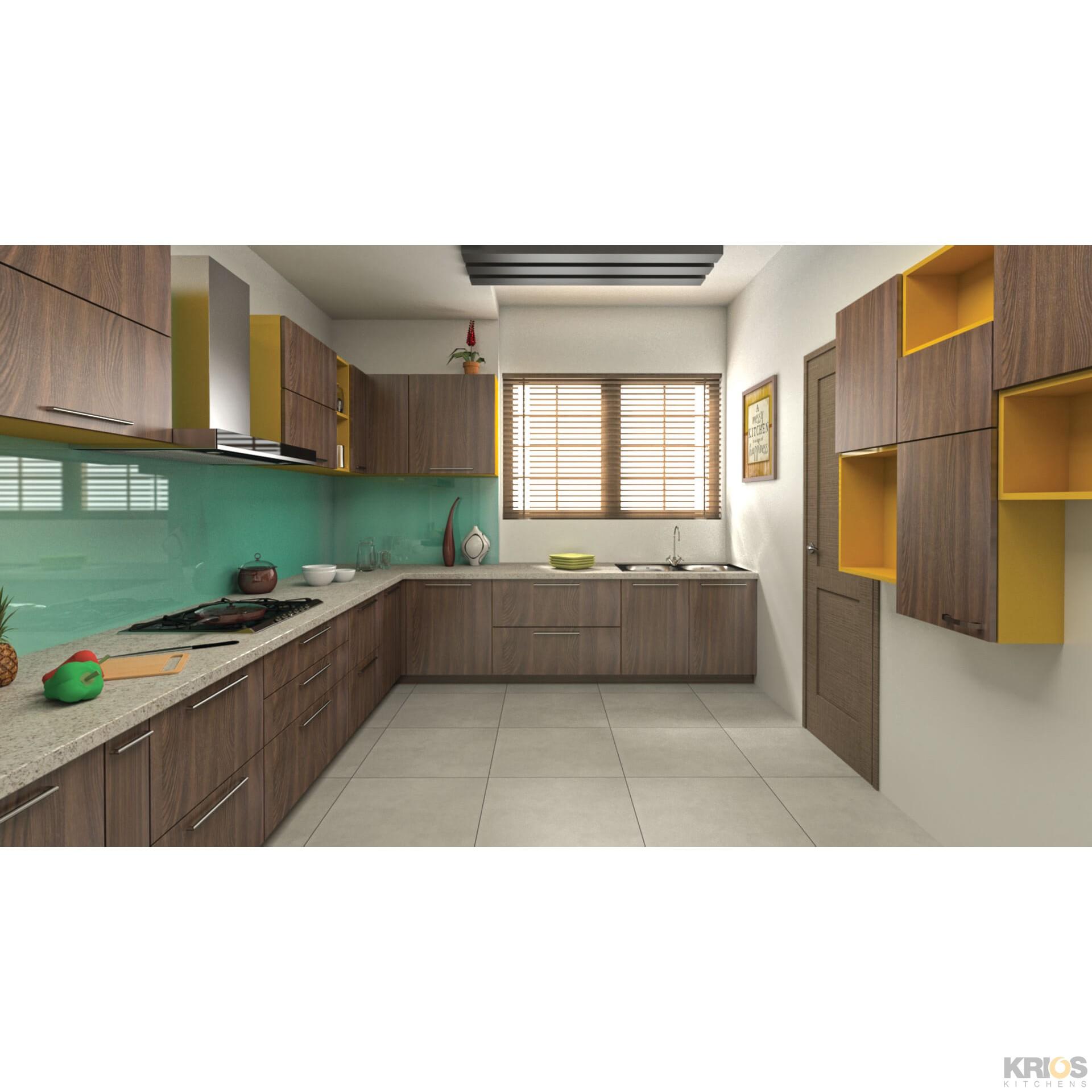 L Shaped Modular Kitchen Designs Catalogue: Walcott Walnut