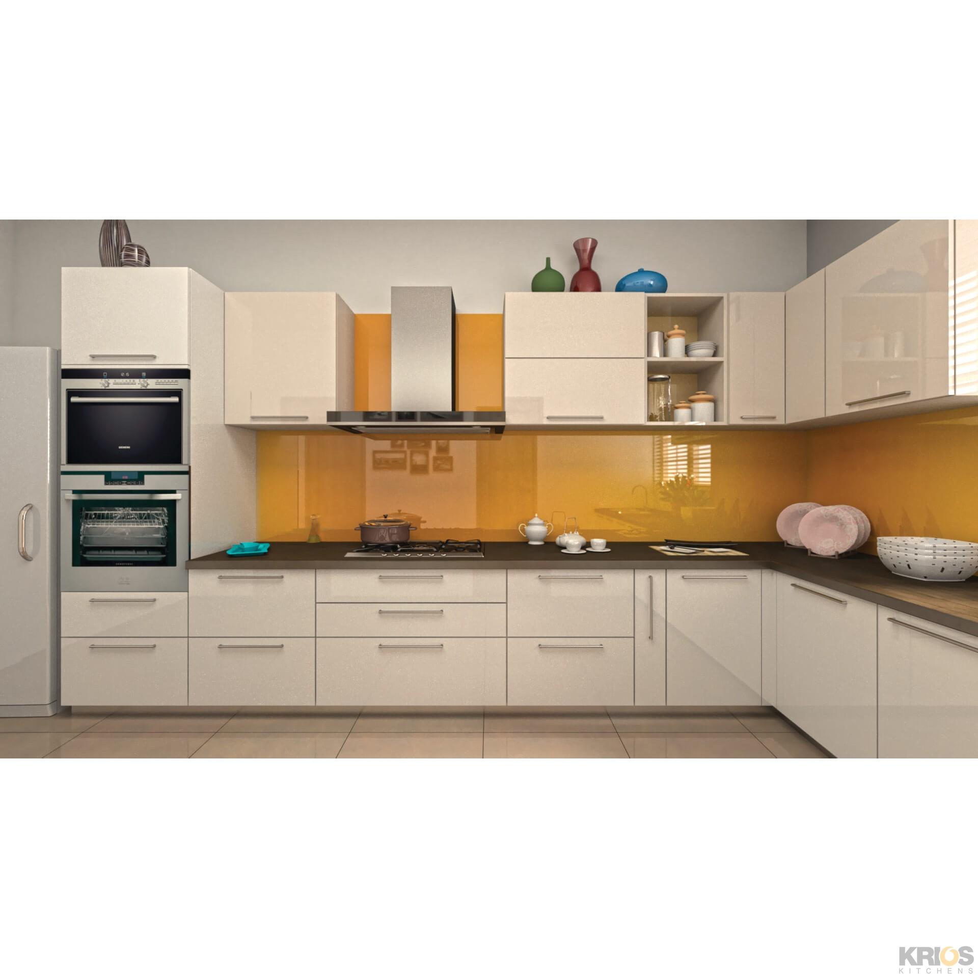L Shaped Modular Kitchen Designs Catalogue: Alegra White