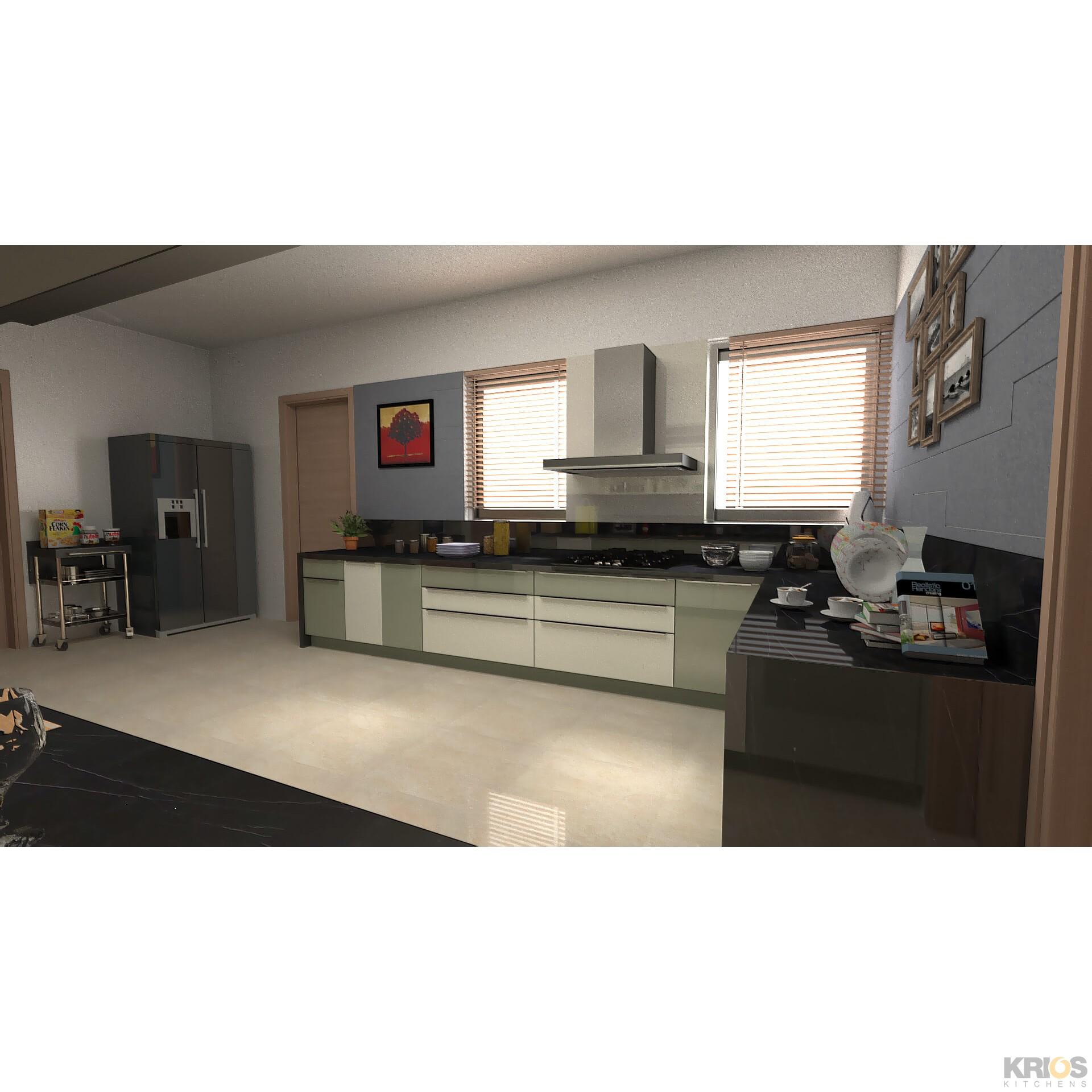Green Modular Kitchen: Modular Kitchens