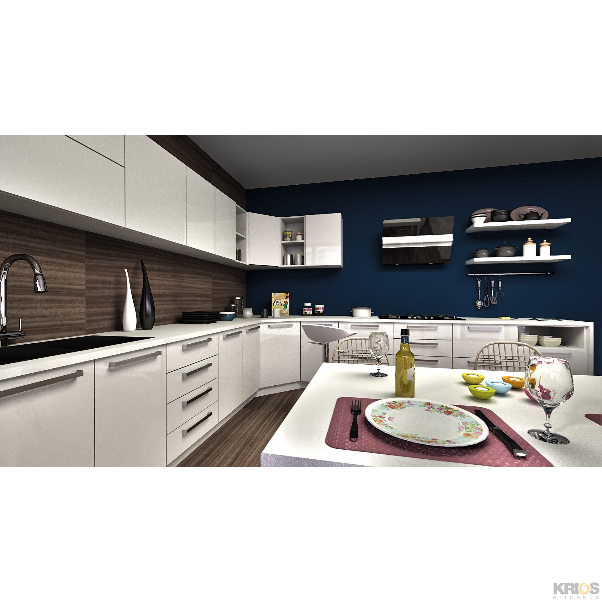 White Kitchen L Shape: Modular Kitchens