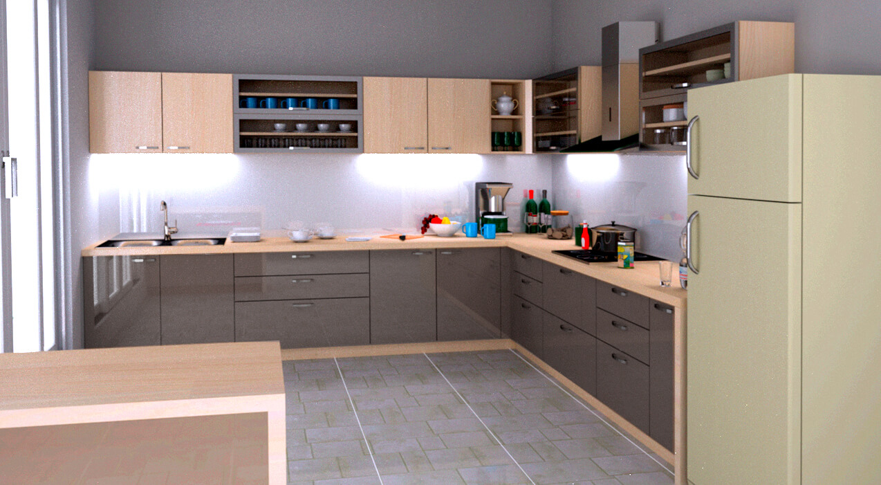 L shaped modular kitchen design